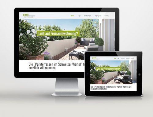 Website des Immobilienprojekts Parkterrassen
