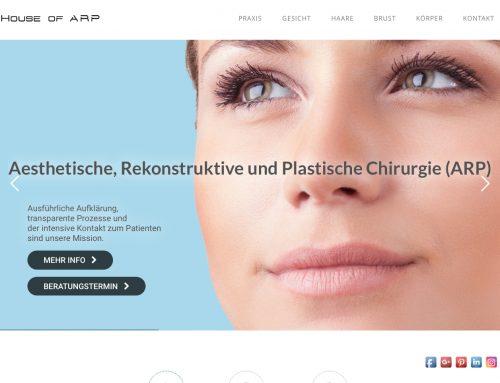 Website House of ARP – Ästhetische, rekonstruktive und plastische Chirurgie