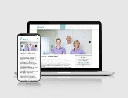 Website der Zahnarztpraxis Pawlik
